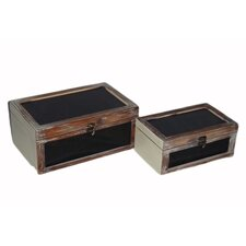 2 Piece Wooden Box with Black Painted Glass Set