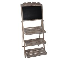 Wooden Chalkboard Stand with Storage Racks