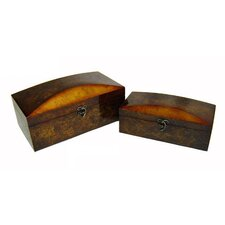 Two Piece Wooden Treasure Chest Set