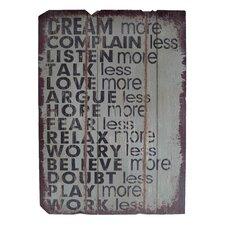Wooden Board of Wisdom Textual Art