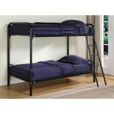 Metal Twin Bunk Bed with Built-In Ladder