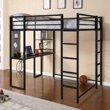 Abode Full Loft Bed with Built-In Ladder, Desk & Bookshelves