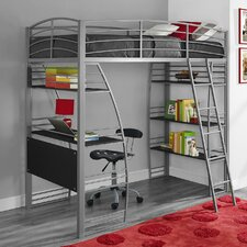 Studio Twin Loft Bed with Integrated Desk and Shelves