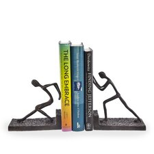Men Pushing Metal Bookend (Set of 2)