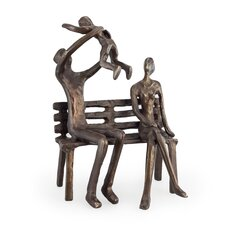 Couple with Baby on Bench Bronze Sculpture