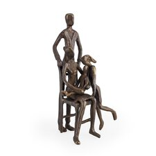 Family of Four with Older Sister Bronze Sculpture