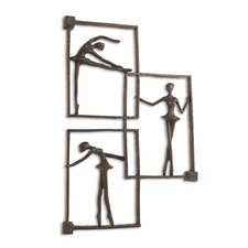 Ballerina Poses on Frames Iron Wall Décor