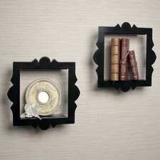 Scalloped Square Floating Wall Shelf (Set of 2)