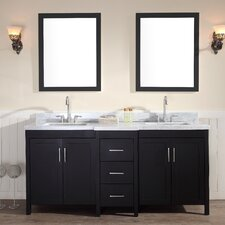 "Hollandale 73"" Double Sink Vanity Set with Mirror"