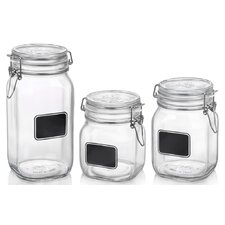 Fido 3 Piece Square Chalk Label Jar Set