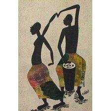 Drummer and Dancer by Emmanuel Atiemoh Yeboah Original Painting