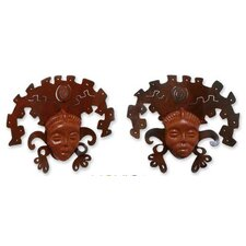 2 Piece 'Aztec Masks' Wall Décor