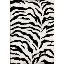Earth Zebra Print Black & Ivory Area Rug