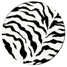 Earth Zebra Print Black & Ivory Area Rug