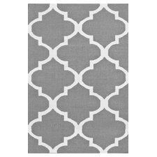 Marbella Moroccan Trellis Kilim Grey & Pure White Area Rug