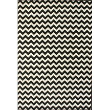 Kinder Chevron Ivory & Black Area Rug
