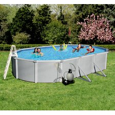 Samoan 12-ft x 24-ft Oval 52-in Deep 8-in Top Rail Metal Wall Swimming Pool Package