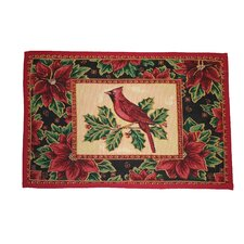 Seasonal Cardinal Design Red Novelty Rug