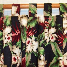 Orchids Cotton Tab Top Single Curtain Panel