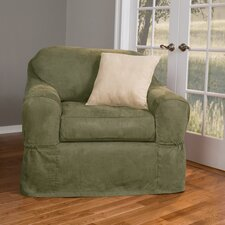 Piped Faux Suede Separate Seat Chair Slipcover