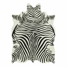 Animal Hide White & Black Zebra Area Rug