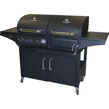 2-in-1 Charcoal and 3-Burner Gas Deluxe Combo Grill with Side Burner