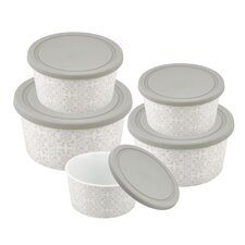Imperial 5 Piece Silicon Lid Porcelain Food Container Set