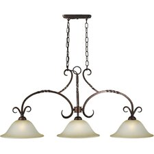 Three Light Island Pendant with Umber Mist Shade in Black Cherry