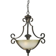 Three Light Bowl Pendant with Umber Mist Shade in Antique Bronze