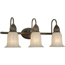 Three Light Vanity Light with Mica Shade in Antique Bronze
