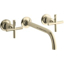 """Purist Wall-Mount Bathroom Sink Faucet Trim with 9"""", 90-Degree Angle Spout and Cross Handles, Requires Valve"""