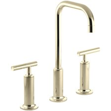 Purist Widespread Bathroom Sink Faucet with High Lever Handles and High Gooseneck Spout