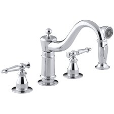 "Antique Three-Hole Kitchen Sink Faucet with 8-5/8"" Spout, Sidespray and Lever Handles"