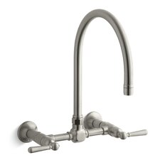 "Hirisetwo-Hole Wall-Mount Bridge Kitchen Sink Faucet with 13-7/8"" Gooseneck Spout and Lever Handles"