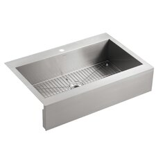 """Vault 35-3/4"""" x 24-5/16"""" x 9-5/16"""" Top-Mount Single-Bowl Stainless Steel Kitchen Sink with Shortened Apron-Front for 36""""Cabinet"""