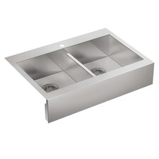 "Vault 35-3/4"" x 24-5/16"" x 9-5/16"" Top Mount Double Bowl Kitchen Sink"