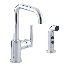 "Purist Two-Hole Kitchen Sink Faucet with 6"" Spout and Matching Finish Sidespray"