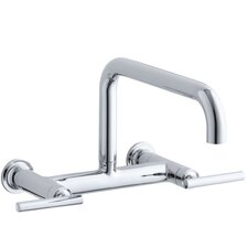 "Purist Two-Hole Wall-Mount Bridge Kitchen Sink Faucet with 13-7/8"" Spout"