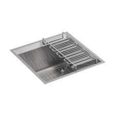 8 Degree Under-Mount Bar Sink with Bottom Bowl Rack and Wine Rack