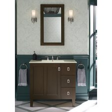"Poplin 36"" Vanity with Furniture Legs, 1 Door and 3 Drawers On Right"