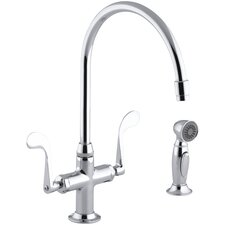 "Essex Single-Hole Kitchen Sink Faucet with 9"" Gooseneck Spout and Accent Sidespray"
