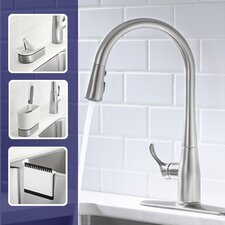 "Simplice Single-Hole or Three-Hole Kitchen Sink Faucet with 16-5/8"" Pull-Down Spout, Docknetik Magnetic Docking System, and A 3-Function Sprayhead Featuring The New Sweep Spray"