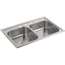 "Toccata 33"" x 22"" x 6"" Top-Mount Double-Equal Bowl Kitchen Sink"