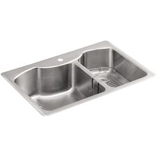 "Octave 33"" x 22"" x 9-5/16"" Top-Mount Large/Medium Double-Bowl Stainless Steel Kitchen Sink with Single Faucet Hole"