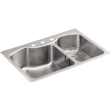 "Octave 33"" x 22"" x 9-5/16"" Top-Mount Large/Medium Double-Bowl Stainless Steel Kitchen Sink with Three-Faucet Holes"