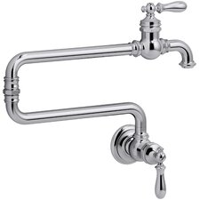Artifacts Single-Hole Wall-Mount Pot Filler Kitchen Sink Faucet with Extended Spout