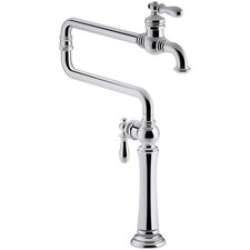 Artifacts Single-Hole Deck-Mount Pot Filler Kitchen Sink Faucet with Extended Spout