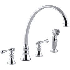 "Revival 4-Hole Kitchen Sink Faucet with 11-13/16"" Spout, Matching Finish Sidespray and Traditional Lever Handles"