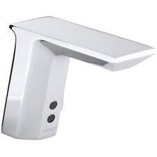 """Geometric Single-Hole Touchless Hybrid Energy Cell-Powered Commercial Bathroom Sink Faucet with Insight Technology, Temperature Mixer and 6-3/4"""" Spout"""