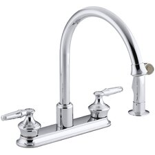 "Coralais Three-Hole Kitchen Sink Faucet with 9"" Gooseneck Spout and Matching Finish Sidespray, Requires Handles"